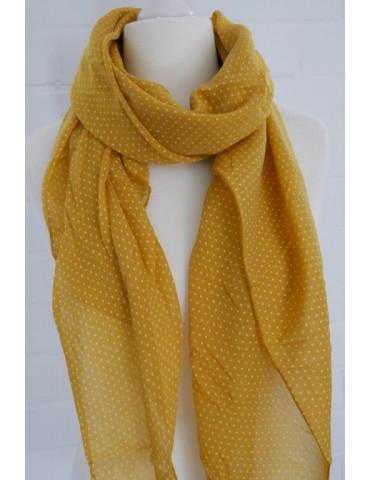Schal Tuch Loop Made in Italy Seide Baumwolle curry gelb weiß Mini Punkte