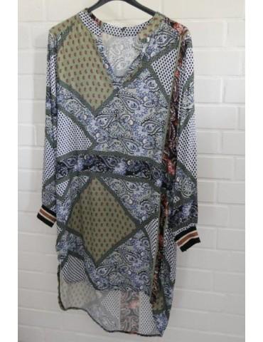 Damen Tunika Kleid oliv orange dunkelblau schwarz bunt Muster Onesize ca. 36 - 40