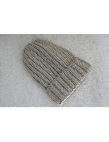 Damen Strick Mütze beige sand mit Wolle und Viskose