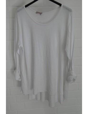 ESViViD Damen Shirt A-Form langarm weiß white Baumwolle Onesize ca. 38 - 44