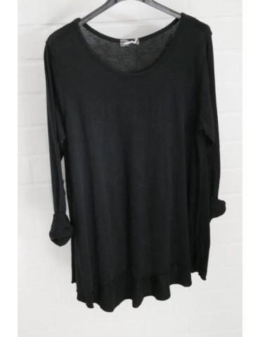 ESViViD Damen Shirt A-Form langarm schwarz black Baumwolle Onesize ca. 38 - 44