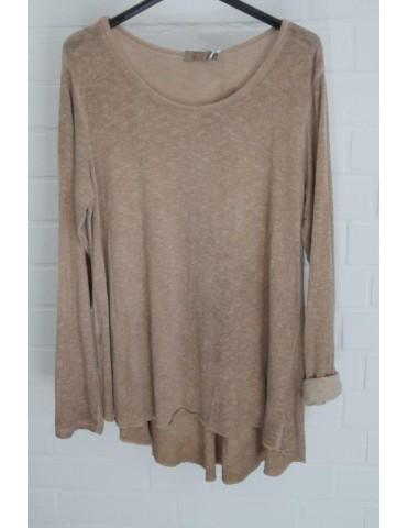 ESViViD Damen Shirt A-Form langarm camel caramell Baumwolle Onesize ca. 38 - 44