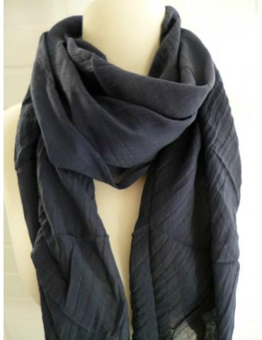 Schal Tuch Loop Made in Italy Seide Baumwolle dunkelblau marine uni