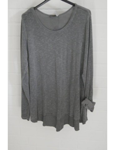 ESViViD Damen Shirt A-Form langarm anthrazit grau Baumwolle Onesize ca. 38 - 44