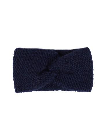 Zwillingsherz Stirnband Häkel mit Wolle dunkelblau marine uni