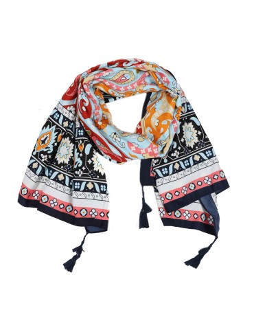 Bunter Damen Schal Tuch dunkelblau orange rot türkis bunt Trotteln Tasseln