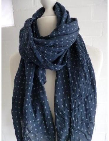 Schal Tuch Loop Made in Italy Seide Baumwolle dunkelblau weiß Mini Sterne
