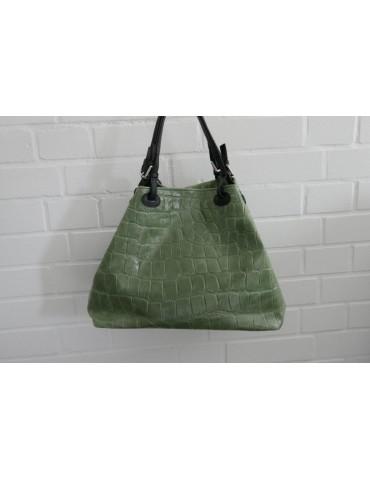 Damen Tasche Schultertasche Echtes Leder lindgrün helloliv Krokolook Made in Italy