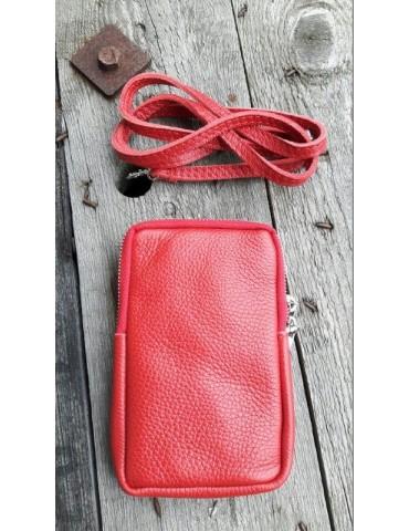 Damen Echt Leder Handy Tasche Schultertasche rot red uni glatt