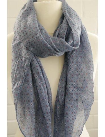 Schal Tuch Loop Made in Italy Seide Baumwolle jeansblau blau weiß rot Krawattenmuster