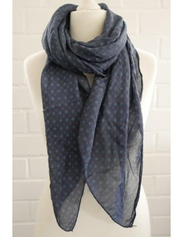 Schal Tuch Loop Made in Italy Seide Baumwolle dunkelblau rot weiß Krawattenmuster