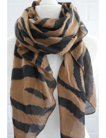Schal Tuch Loop Made in Italy Seide Baumwolle braun schwarz Zebra Streifen