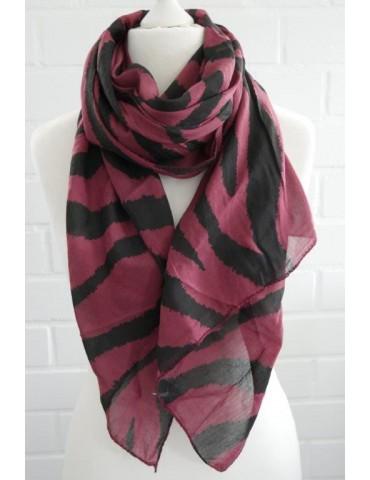 Schal Tuch Loop Made in Italy Seide Baumwolle weinrot schwarz Zebra Streifen