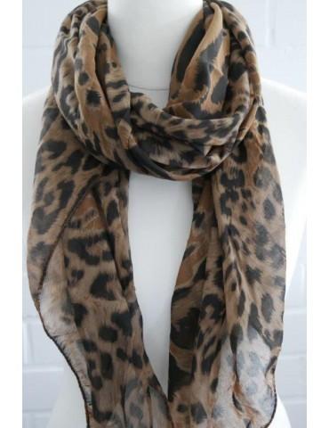 Schal Tuch Loop Made in Italy Seide Baumwolle braun schwarz beige Leo