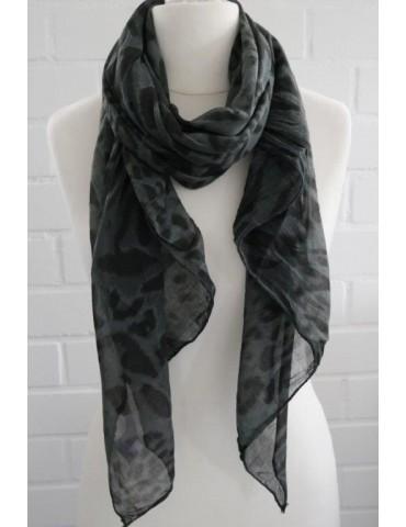 Schal Tuch Loop Made in Italy Seide Baumwolle anthrazit schwarz grau Leo