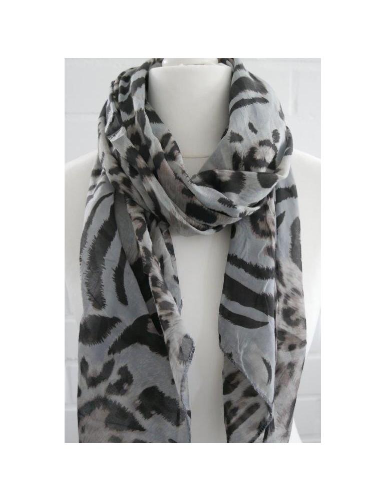 Schal Tuch Loop Made in Italy Seide Baumwolle grau schwarz beige Leo