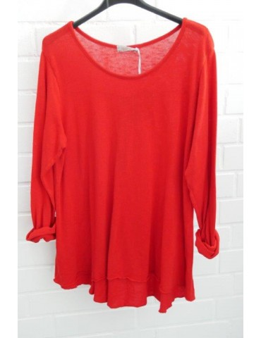 ESViViD Damen Shirt A-Form langarm rot red Baumwolle Onesize ca. 38 - 44