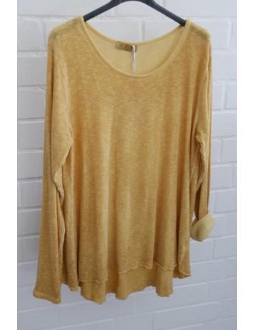 ESViViD Damen Shirt A-Form langarm curry gelb Baumwolle Onesize ca. 38 - 44