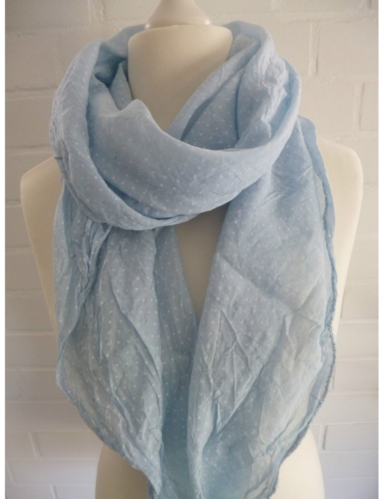 Schal Tuch Loop Seide Baumwolle Made in Italy hellblau weiß Mini Punkte