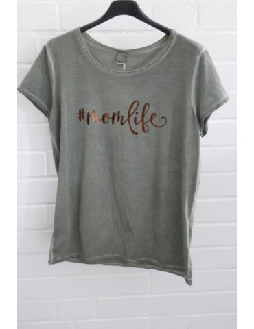 "Damen Shirt kurzarm oliv khaki bronze ""momlife"" mit Baumwolle Onesize 38 - 42"