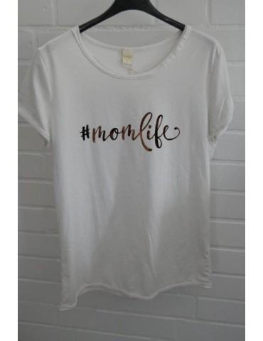 """Damen Shirt kurzarm off - white bronze """"momlife"""" mit Baumwolle Onesize 38 - 42"""