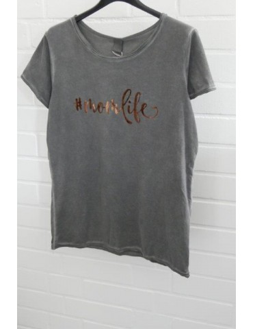 "Damen Shirt kurzarm anthrazit grau bronze ""momlife"" mit Baumwolle Onesize 38 - 42"