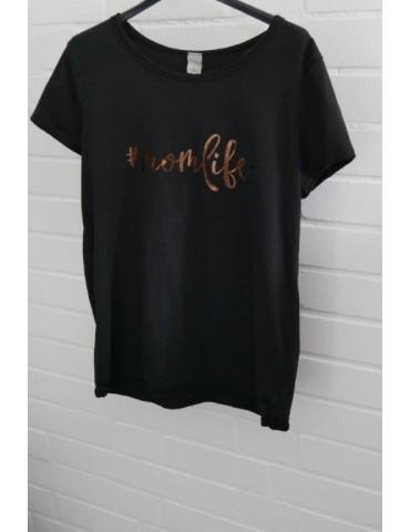 "Damen Shirt kurzarm schwarz black bronze ""momlife"" mit Baumwolle Onesize 38 - 42"