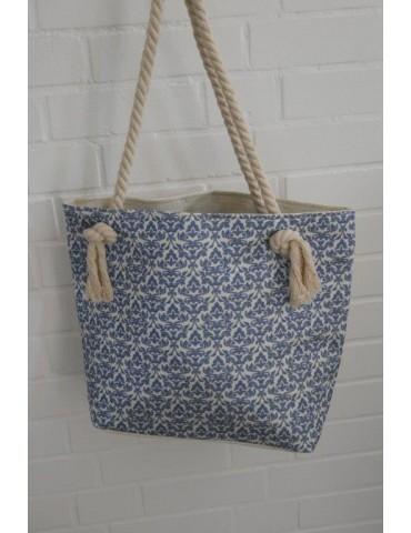 Badetasche Tasche Schultertasche creme blau Muster mit Kordel