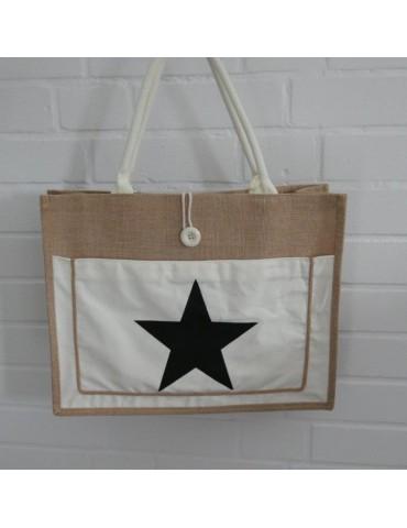Jutetasche Shopper Schultertasche beige creme schwarz Stern