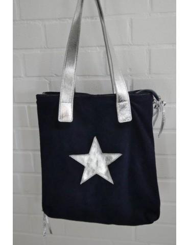Damen Tasche Schultertasche Echtes Leder dunkelblau silberfarben Stern