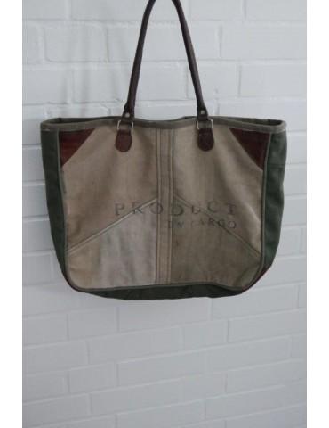 """Schultertasche Damen Tasche Einkaufstasche """"Alter Postsack"""" Leder beige grün"""