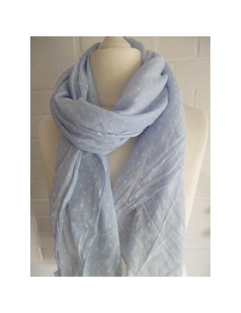 Schal Tuch Loop Made in Italy Seide Baumwolle hellblau weiß Mini Sterne