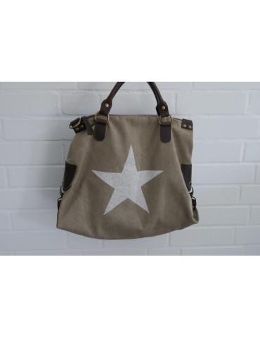Tasche Schultertasche Canvas Made in Italy beige weiß Stern