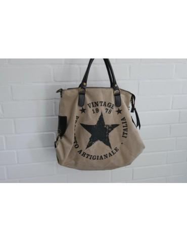 Tasche Schultertasche Canvas Made in Italy beige schwarz Schrift Stern