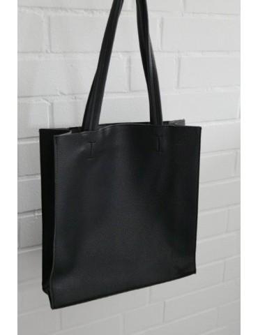 Damen Tasche Schultertasche Shopper schwarz black Made in Italy