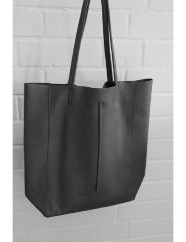Damen Tasche Schultertasche Echtes Leder grau...
