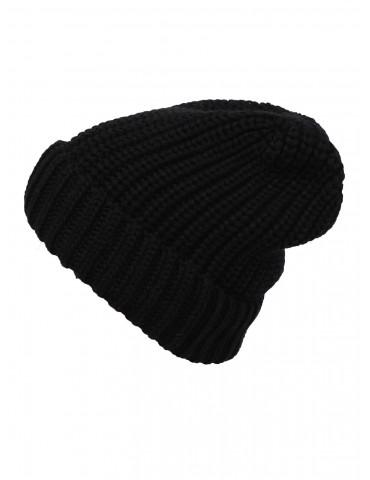 Zwillingsherz Mütze Grobstrick schwarz black 100% Bio Baumwolle