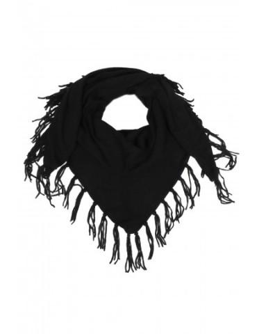 Zwillingsherz Dreieckstuch Schal mit Kaschmir schwarz black uni Fransen