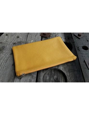 Kosmetiktasche Portemonnaie Geld Tasche Bag in Bag curry gelb Echtes Leder