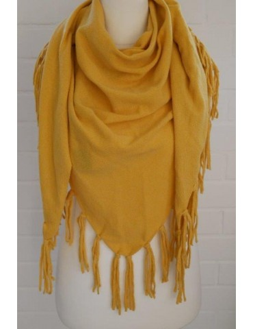 Zwillingsherz Dreieckstuch Schal mit Kaschmir curry gelb uni Fransen