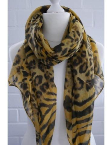 Schal Tuch Loop Made in Italy Seide Baumwolle gelb schwarz braun Leo