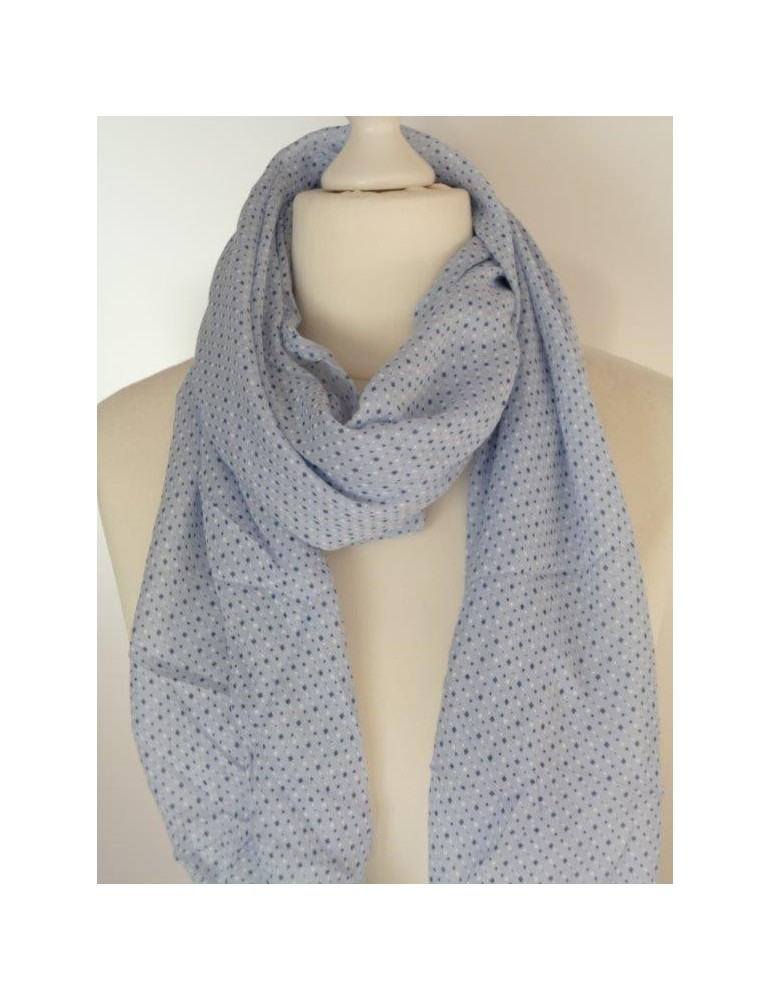 Schal Tuch Loop Made in Italy Seide Baumwolle hellblau dunkelblau weiß Muster