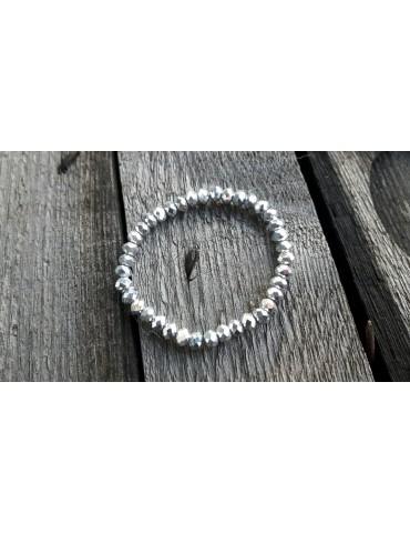 Armband Kristallarmband Perlen groß silber silver Glitzer Schimmer elastisch