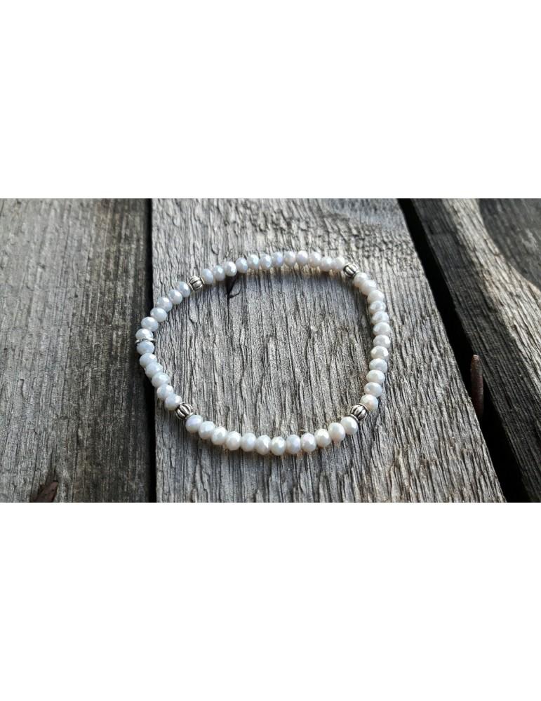 Armband Kristallarmband Perlen hellgrau silber Perlen Glitzer Schimmer elastisch