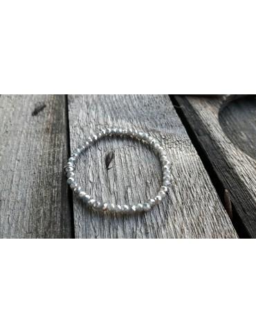Armband Kristallarmband Perlen grau grey Glitzer Schimmer elastisch