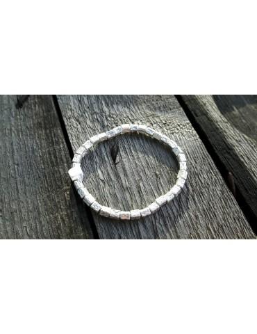 Damen Armband silberfarben silver eckig elastisch Metall