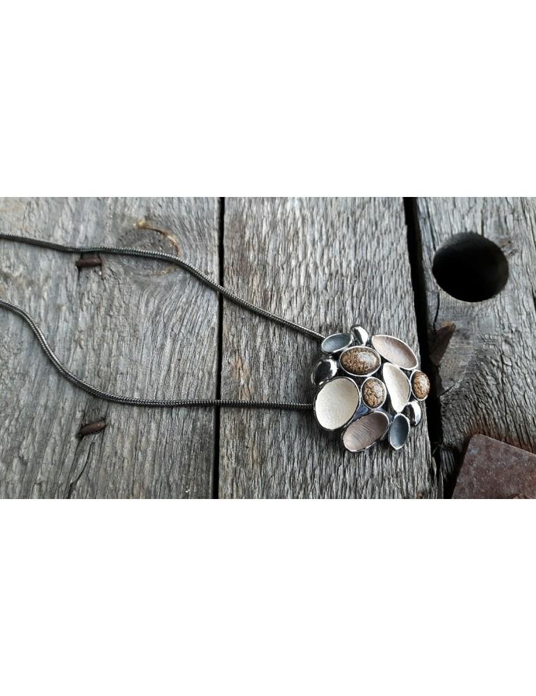 Bijoux Modeschmuck Kette Halskette Damen anthrazit grau braun beige Metall
