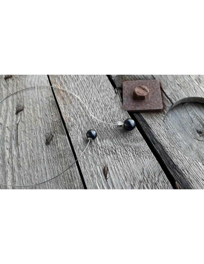 A- Zone Modeschmuck Kette Halskette Damen silber schwarz Perle Strass