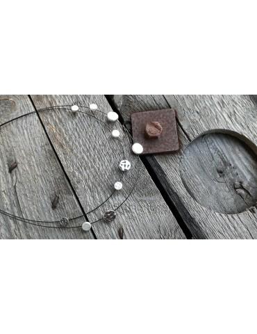 Bijoux Modeschmuck Kette Halskette Damen schwarz silber Draht