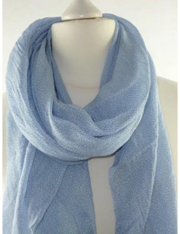 Schal Tuch Loop Made in Italy Seide Baumwolle hellblau blau Striche